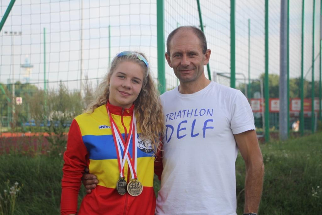 Julia Sanecka z trenerem Markiem Saneckim