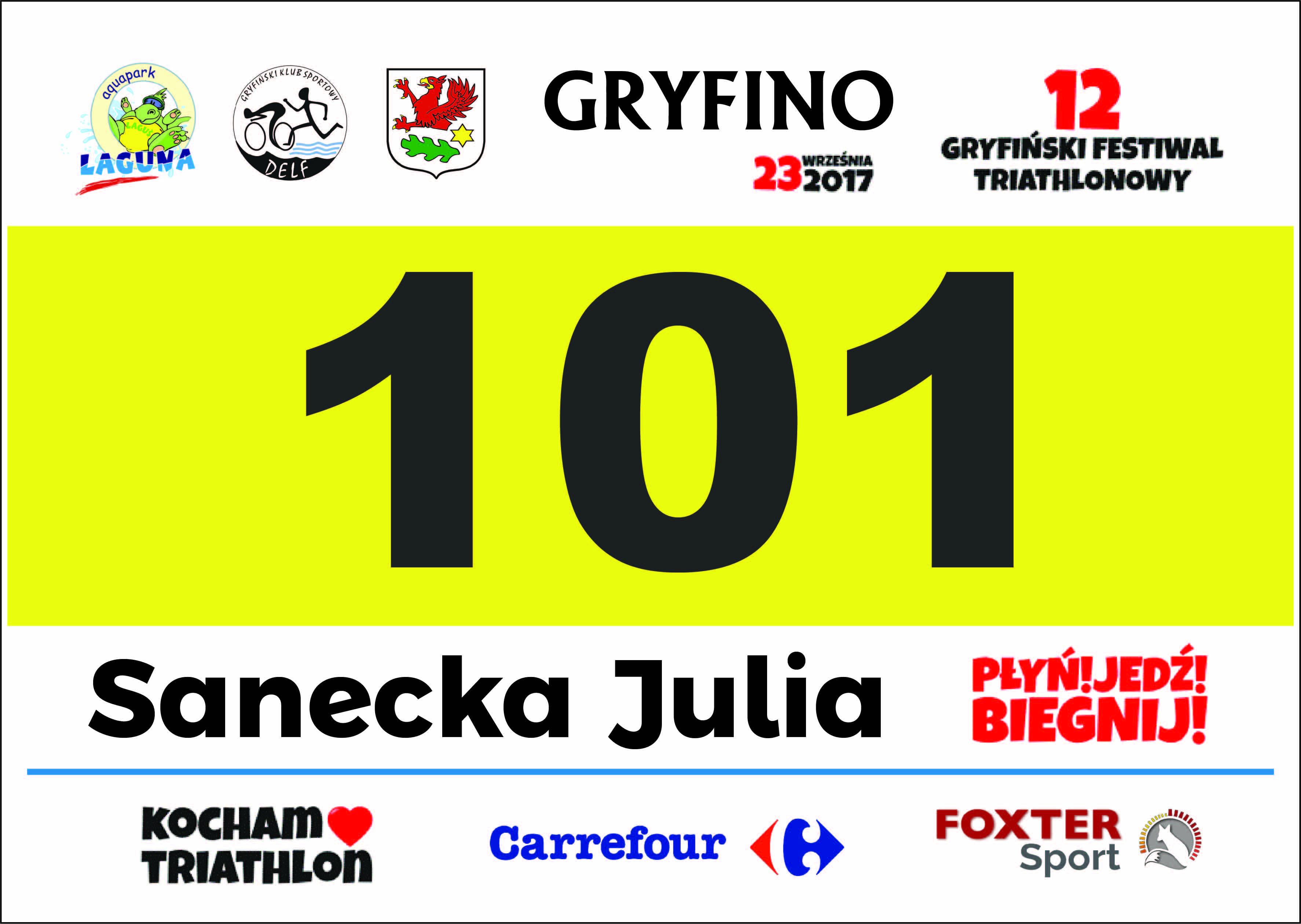 Numery startowe 12 Festiwalu Triathlonowego Kocham Triathlon